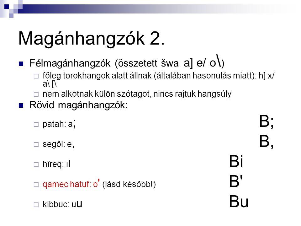 Magánhangzók 2. Félmagánhangzók (összetett šwa a] e/ o\)